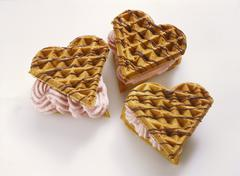 Wholegrain Waffles with Strawberry Cream Stock Photos