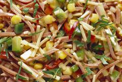 Spicy Cold Cut Salad with Gouda Cheese & Bell Pepper Stock Photos
