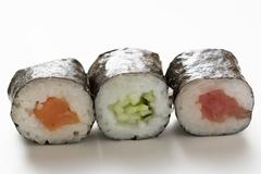 Maki sushi with salmon, with cucumber and with tuna Stock Photos