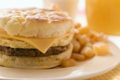 Cheeseburger with scrambled egg and fried potatoes Stock Photos