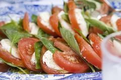 Insalata caprese (Tomatoes and mozzarella, Italy) Stock Photos