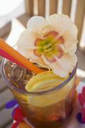 Cuba Libre with amaryllis flower Stock Photos