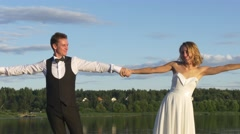 Bride and groom finished their wedding dance Stock Footage