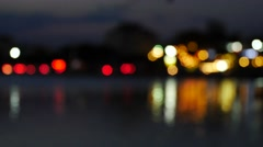 City traffic lights shimmer line, defocused view. Stock Footage
