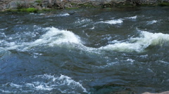 Tight Pan of a Rushing River in Colorado Stock Footage