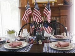 Table laid for 4th of July (USA) Stock Photos