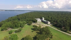 Aerial shot of Sands Point Preserve in NY, slight trucking flying over shot Stock Footage