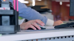 Human hand on computer mouse Stock Footage