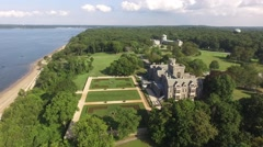 Aerial shot of Sands Point Preserve in NY, flying over on angle Stock Footage