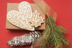Gingerbread heart and leaf with decorative icing Stock Photos