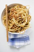 Macaroni with mince sauce Stock Photos