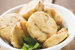 Napkin dumpling with parsley (close-up) Stock Photos