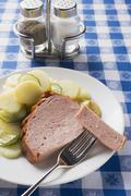 LeberkŠse (type of meatloaf) with mustard and potato salad Stock Photos