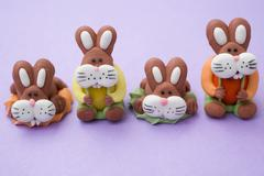 Four marzipan Easter Bunnies Stock Photos