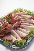 Substantial cold cuts platter Stock Photos