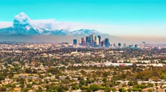 Time-lapse of Downtown LA with smoke from a nearby forest fire Stock Footage