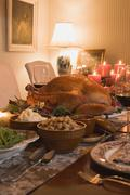 Stuffed turkey with accompaniments for Thanksgiving (USA) Stock Photos