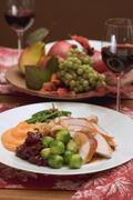 Turkey breast with accompaniments for Thanksgiving (USA) Stock Photos