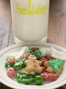 Christmas biscuits and sweets on plate Stock Photos
