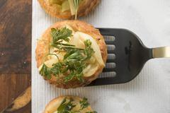 Savoury pear patties with deep-fried parsley Stock Photos