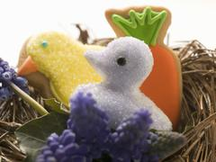 Easter biscuits and sweet (chick) in nest Stock Photos