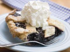 Piece of blueberry pie with cream Stock Photos