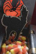 Sweets for Halloween (black cat, candy corn) Stock Photos