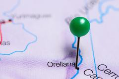 Orellana pinned on a map of Peru Stock Photos
