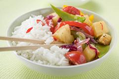 Fried vegetables with pineapple and rice (Asia) Kuvituskuvat