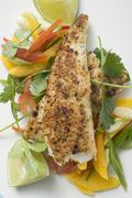 Spicy pangasius fillet with vegetables, lime, coriander Stock Photos
