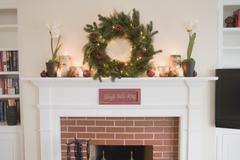 Mantelpiece decorated for Christmas Stock Photos