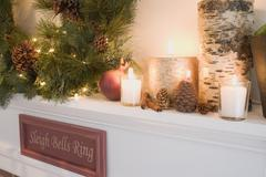 Mantelpiece decorated for Christmas (detail) Stock Photos