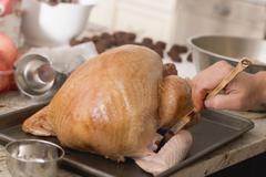 Brushing turkey with marinade Stock Photos