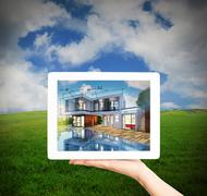 3D Rendering Architect showing new house project with tablet Stock Illustration
