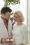 Couple with Christmas gift under mistletoe Stock Photos