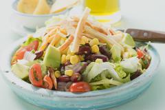 Mexican salad with tortilla strips Stock Photos