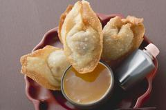 Deep-fried dim sum with two sauces (Asia) Stock Photos