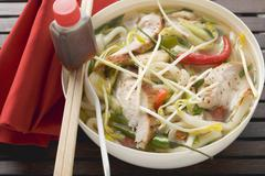 Spicy noodle soup with chicken, vegetables & soy sauce (Asia) Stock Photos