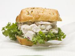 Chicken salad sandwich with red onion Stock Photos