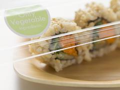 Vegetarian inside-out rolls to take away Stock Photos