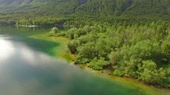 Beautiful Bohinj Lake shore Stock Footage