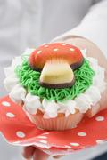 Hands holding cupcake with marzipan fly agaric Stock Photos