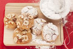 Hazelnut cookies with powdered sugar Stock Photos