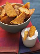 Platter of Baked Sweet Potato Wedges Stock Photos