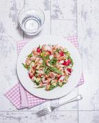 Rocket salad with crayfish, radishes and sweet chilli Stock Photos