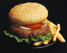Hamburger with chips Stock Photos