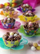 Chocolate Easter Nests in Cupcake Liners Stock Photos