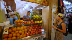 Fresh juice stall Stock Footage