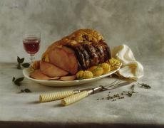 Roast beef with rosemary potatoes Stock Photos
