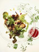 Salad leaves with roast pigeon Stock Photos
